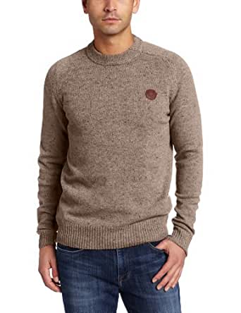 Fred Perry Men's Tweed Crew Neck Sweater, Nutmeg, X-Small