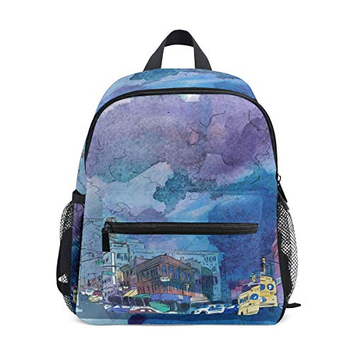 FAJRO City Watercolor School Bag for Girls School Pack
