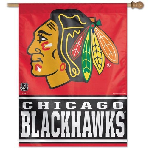 "NHL Chicago Blackhawks WCR00455014 Vertical Flag, 27"" x 37"", Black"