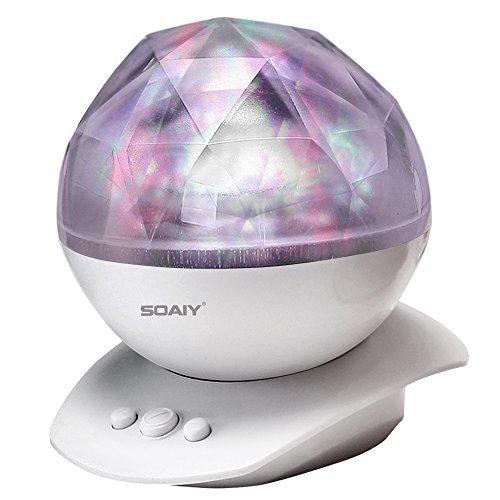 SOAIY LED Farbwechsel Nachtlicht-Lampe mit Projektion Weiß