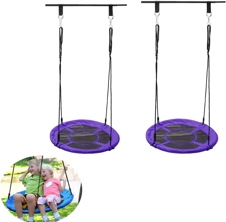 Swing, Garden Swings for Children Outdoor Swing Easy to Adjust Adults 2 Piece Set,Purple