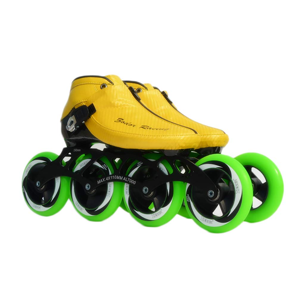 NUBAOgy インラインスケート、90-110ミリメートル直径の高弾性PU車輪、子供のための調整可能なインラインスケート (色 : 白, サイズ さいず : 43) B07HQ6D8W9 37|Green Green 37