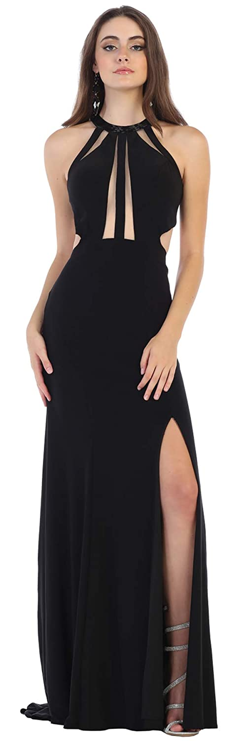Black Formal Dress Shops Inc FDS1579 Sexy Evening Prom Stretchy Dress