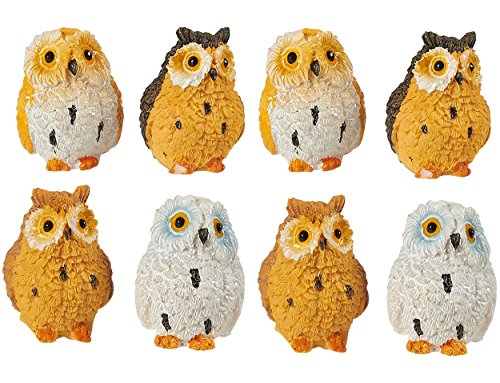 Juvale Owl Figurines - Pack of 8 Mini Owl Resin Figurines, Fairy Garden Accessories, Owl DecorOrnaments Perfect for Children, Indoor and Outdoor Decor, Multicolor, 1.37 x 1 x 1 Inches