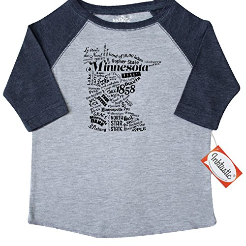 Inktastic Little Boys' Minnesota State Word Salad Toddler T-Shirt 2T Heather and Navy