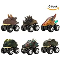 MUSTFIT Dinosaur Car Toys (6 Pcs) Pull Back Vehicle Party Supplies Set for 3+ Year Olds for Toddlers, Creative Gifts Party Favors Kids