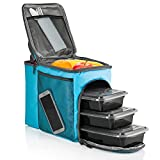 Image of HemingWeigh Reusable Insulated Lunch Box - Durable Lunch Bag Cooler w/Spacious Storage Compartments - Includes 3 Food Storage Containers & Ice Pack (Tropical Turquoise)