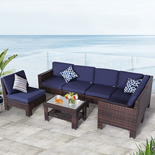 Cheap Diensday Outdoor Furniture 7-Piece Sectional Sofa Set All Weather Brown Wicker Deep Seating with Navy Blue Waterproof Olefin Cushions & Sophisticated Glass Coffee Table | Patio, Backyard, Pool, Porch