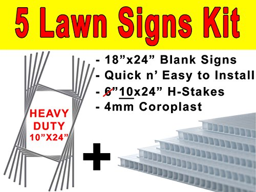 Pack of Five(5) Quantity Blank White Yard Signs 18x24 with H-stakes for Garage Sale, For Rent, Open House, Estate Sale, Now Hiring, or Political Lawn (Metal Steel House Yard)