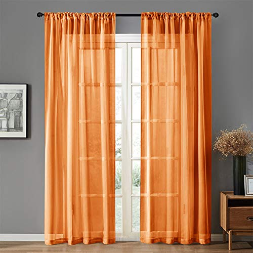MRTREES Sheer Curtains Kids Room 63 inches Long Sheers Nursery Voile Curtain Panels Light Filtering Living Room Drapes Bedroom Window Treatment Set 2 Panels Orange (Bedroom Orange Set)