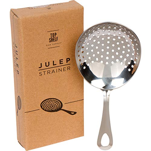 Glass Strainer - Julep Strainer: Stainless Steel SS304 Cocktail Strainer by Top Shelf Bar Supply