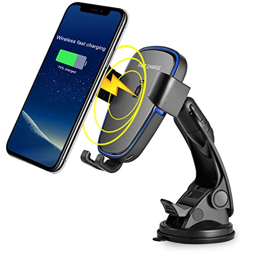 Probway 10w power-fast-qi-wireless-cell-phone-car-charger-mount for iphone x 8 plus samsung galaxy s7 s6 edge+ note 5 s8 s9 with car-dashboard suction mount gravity linkage air vent phone-holder from PROBWAY