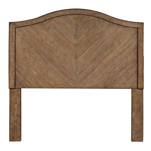 Bedroom Pulaski Camel Back Chevron Patterned Wood Headboard, Queen, Brown farmhouse headboards