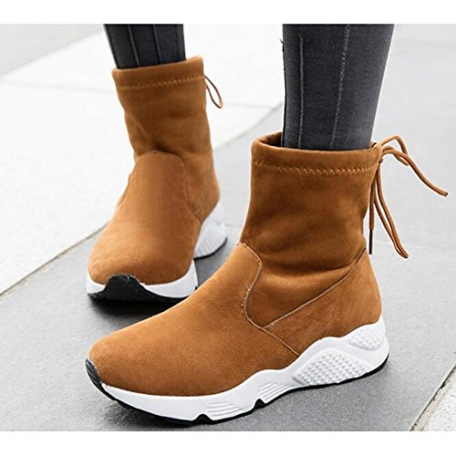 Flat Comfort Casual HSXZ leather Nubuck Heel Black ZHZNVX Spring Yellow Fall for Ankle Boots Shoes Women's Yellow Booties Boots Snow Boots APgqqxw0