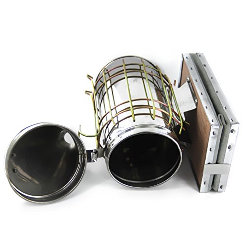 Baosity Bee Hive Smoker Stainless Steel W/Leather Heat Shield Beekeeping Equipment by Baosity