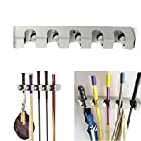 cyclamen9 Mop and Broom Holder, 5 position with 6 hooks garage storage Holds up to 11 Tools Multipurpose Wall Mounted Organizer Storage Hooks,(as shown)
