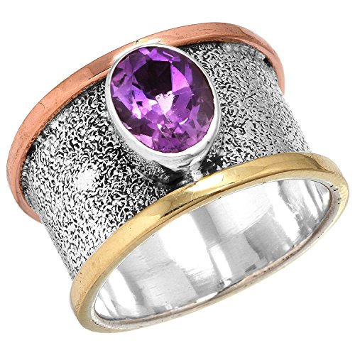 2 Tone Amethyst Ring (Two Tone 925 Sterling Silver Ring Natural Amethyst Gemstone Handmade Jewelry Size)