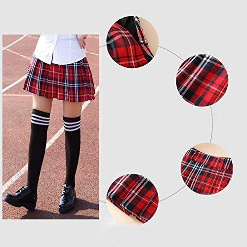 Patineuse Jupe vas Mini Taille Plisse Jupe URSFUR Rouge Noir Fille Haut Carreau Femme nXYA1x