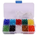 Shapenty 6mm Decorative Hand Briolette Faceted Rondelle Crystal Glass Beads with Hole for DIY Craft Bracelet Necklace Jewelry Making, 10 Colors, 800 Pieces/Box