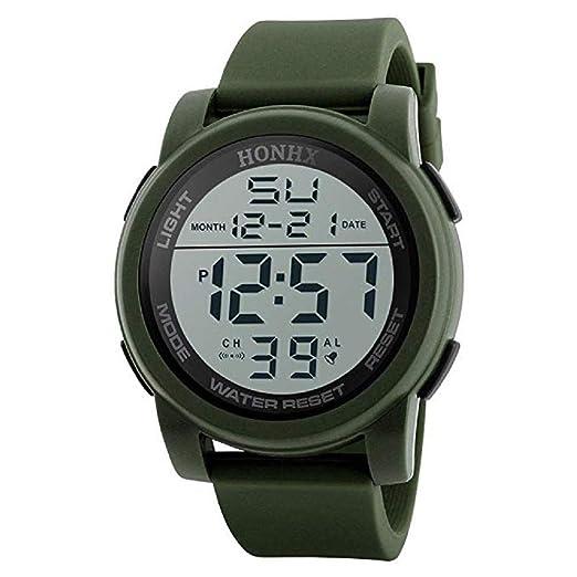 Reloj Deportivo Digital de los Hombres Pantalla LED Relojes Militares de Gran Cara y cronómetro Luminoso