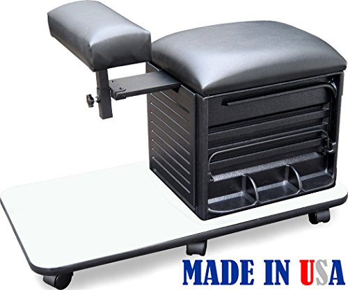 2317-WHT Salon Spa PEDICURE NAIL STATION STOOL w/Footrest Made in USA by Dina Meri by Dina Meri