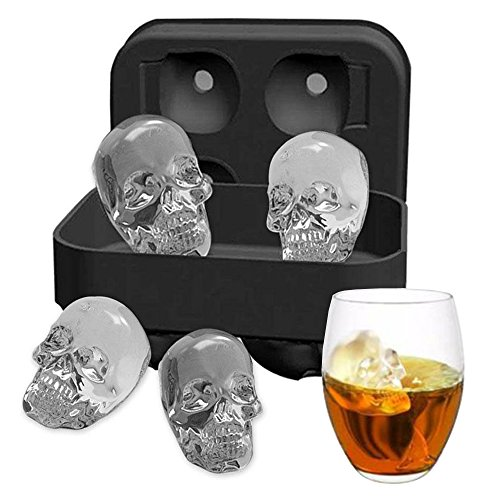 Ice Mold Skull 3D Flexible Silicone Ice Cube Molds Maker Tray, 4 Giant Skulls, Round Ice Cube Maker (4 Ice Molds)]()