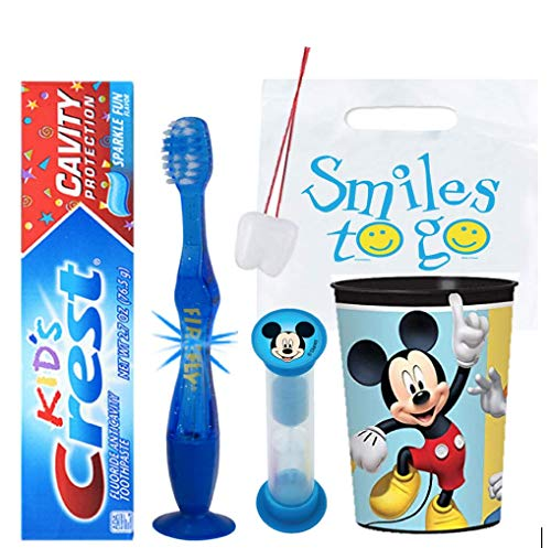 Disney Mickey Mouse Club House Inspired 4pc Bright Smile Oral Hygiene Bundle! Light Up Toothbrush, Toothpaste, Brushing Timer & Mouthwash Rinse Cup! Plus Dental Gift Bag & Tooth Saver Necklace!