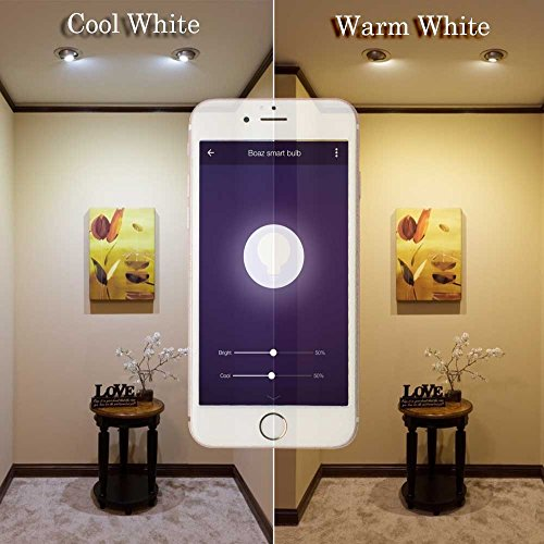 Boaz SmartLife E27,APP and Voice Assistant Controlled Smart Bulb,RGBW Color Changing Smart Light Bulbs,Dimmable White Light to Warm Yellow Smart LED Bulb,Works with Alexa and Google Assistant(2pack) by BoazSmart (Image #4)