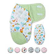 Wonder Miracle Newborn Baby Swaddle Blanket, Soft Thick Warm Fleece Forest Friends Velcro Sleeping Bag with Extra Bottom Zipper for boy Or Girl (Small, 12 x 22 inches, 0-4 Months,use Below 15℃/59℉)
