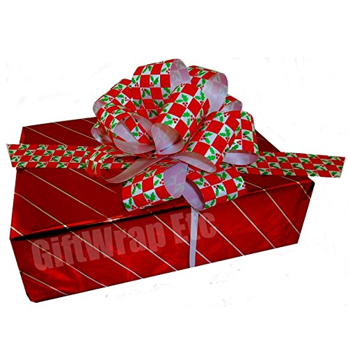 "Christmas Gift Wrap Pull Bows -5"" Wide, Set of 6, Checkered"