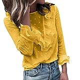 Software : Aniywn Women O Neck Lace Polka Dot Long Sleeve Blouse Fancy Ruffle Casual Tunic Top Yellow