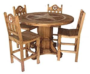 Amazon.com - Round Rustic Dining Room Set With Star Marble