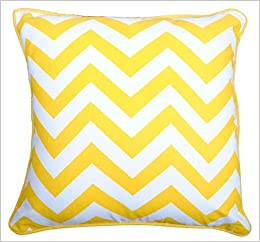 Yellow Throw Pillow Cover (1 Pc) for Sofa Couch 16 X 16 Inches Chevron  Design Printed in Bright Yellow on White 100% Cotton Fabric Soft Decorative  Cushion ... 3233fb830ff6