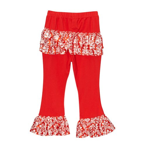 Red Girls Satin Ruffle Pants, Size 5T (Capris Girls Satin)