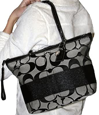 Women's Signature Stripe Black White Medium Size Handbag