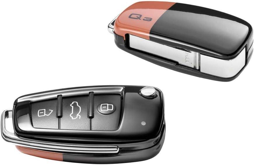 Audi 83a071208a Schlüsselblende Q3 Schlüsselabdeckung Original Key Cover Pulsorange Brillantschwarz Auto