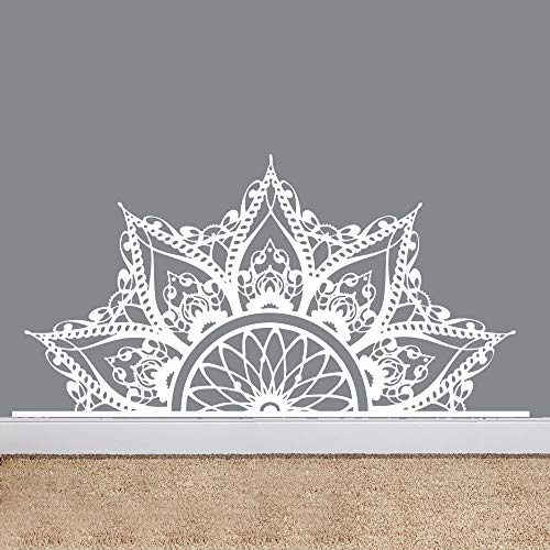 Fashion Bed Decoration Headboard Wall Sticker Half Mandala Om Wall Decal Art Carving Adesivo Lotus Bedroom Beautiful Decor Wall Decal Vinyl Interior Wall Art Decor Mural SYY276 (75x148cm, White) ()