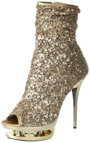 Gold Rhinestone Sparkle Womens Platform Boots (Pleaser Women's Blondie-R-1008 GSQ Ankle Boot,Gold Sequins/Gold Chrome,11 M US)