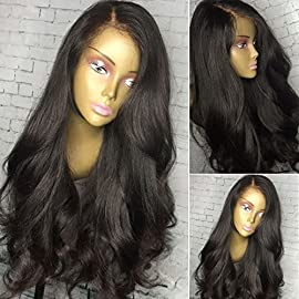 Fenjun Hair 360 Lace Frontal Wig Pre plucked Human Hair Wigs for Black Women 18 Inch Wet and Wavy Brazilian Virgin Hair…