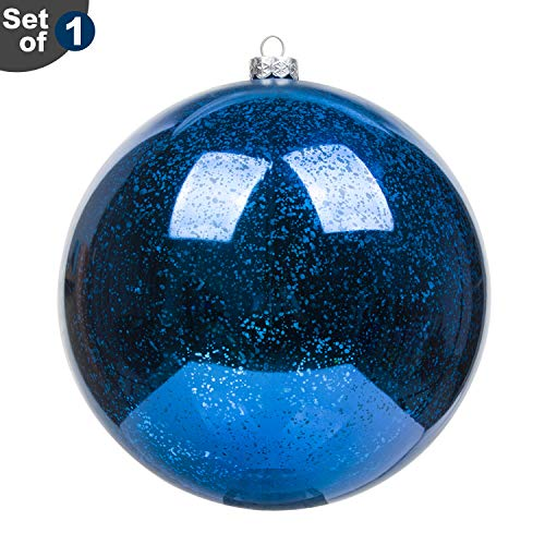 KI Store Large Christmas Ball Ornament Blue Oversize 4th of July Patriotic Balls Decorative Hanging Decoration Mercury Ball 8 Inch Shatterproof Vintage for 4th of July Xmas]()