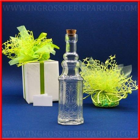 Bottiglia da olio o liquore in vetro a base quadrata con vetro inciso e tappo in sughero - Bomboniere battesimo,comunione,cresima,nozze (kit 48 pz + confezione)