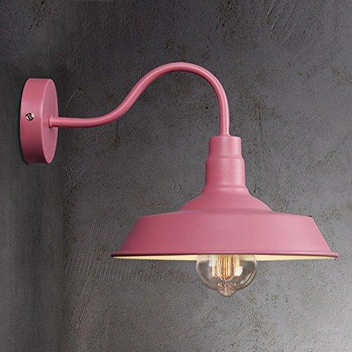 Industrial Barn Style Wall Sconce - LITFAD 10'' Gooseneck Arm Edison Vintage Metal Wall Lamp Mounted Lighting Fixture Pink