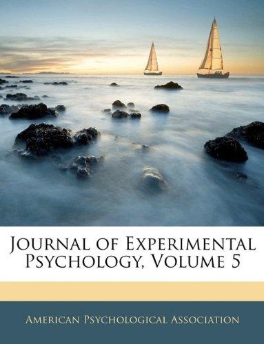 Download Journal of Experimental Psychology, Volume 5 pdf