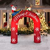 Gemmy Industries 9ft tall Airblown Inflatable Archway Santa in Sleigh with Flying Reindeers