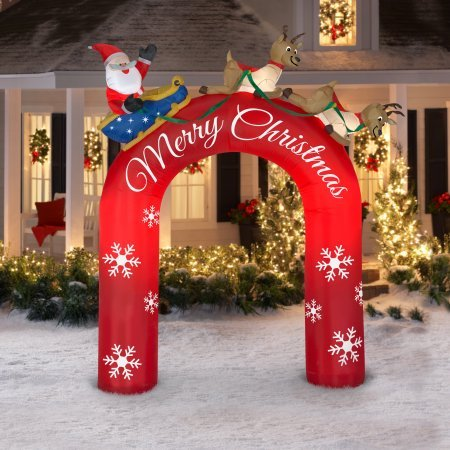(Gemmy Industries 9ft tall Airblown Inflatable Archway Santa in Sleigh with Flying Reindeers)