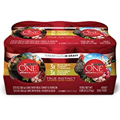 Give your dog an assortment of options at mealtime with this Purina ONE SmartBlend True Instinct Tender Cuts in Gravy adult wet dog food variety pack. Each of the two recipes of canned dog food in this pack features real poultry as the #1 ing...