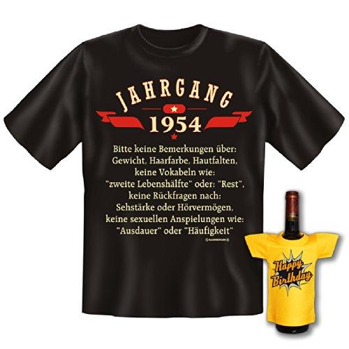 T-Shirt - Jahrgang 1954 - Lustiges Sprüche Shirt als Geschenk zum Geburtstag - Set inkl. witziges Mini T-Shirt
