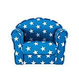 Kids Armchair Children's Tub Chair Blue with White Star Girl Boy Mini Armchair Nursery Seating Chair Sofa for Bedroom Playroom