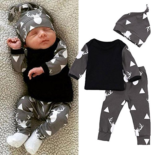 Muxika 1Set Infant Baby Boy Girl Cute Deer Print Clothes Top+Pant+Hat Outfit (Age:0~3 Month, Black)