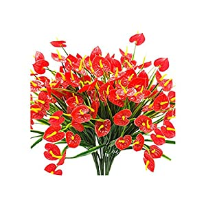 4 Bunches Artificial Fake Flowers Faux Anthurium Plants Plastic Shrubs Bushes Greenery Indoor Outside Hanging Planter Home Decor 60
